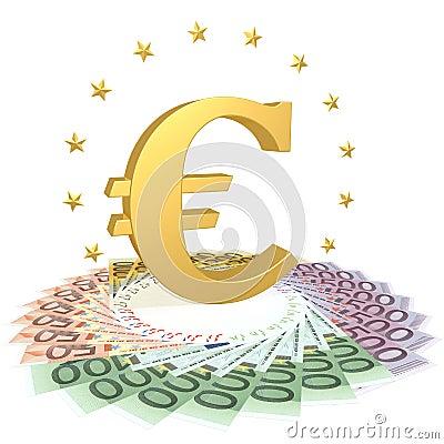 Euro symbol on the bills
