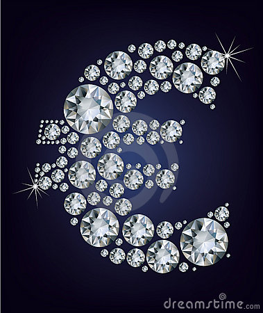Euro symbol in diamonds.