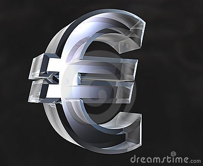 Euro symbol in glass - 3D