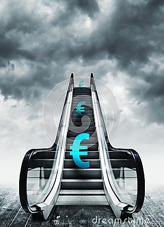 Free Euro Symbol On Escalators Stock Image - 43892231