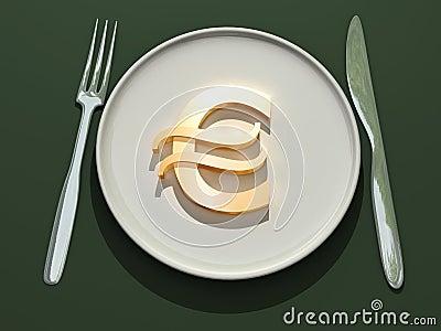 Euro symbol on plate