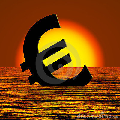 Euro Symbol Sinking And Sunset Showing Depression
