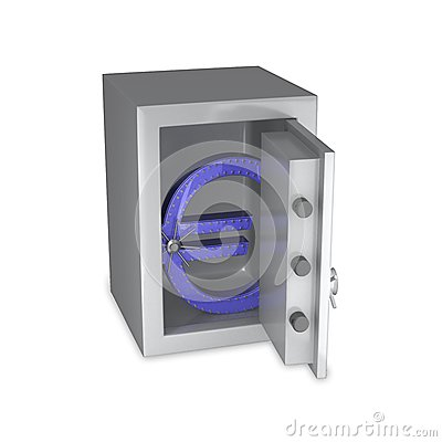 Euro symbol of steel in a safe