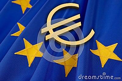 Euro und EU-Markierungsfahne