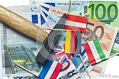 Euro under a hammer