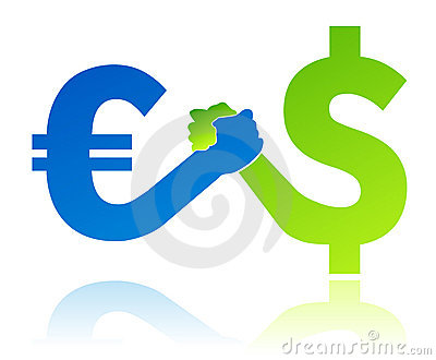Euro versus dollar currency value