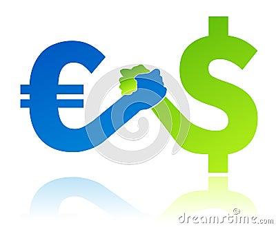 Euro versus dollar currency value