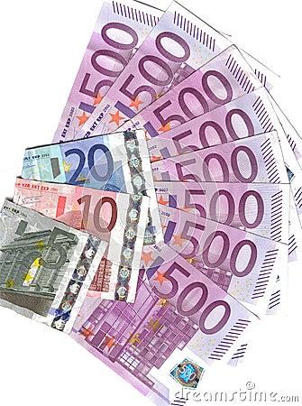 Euro waaier 500 en anderen nemen van nota