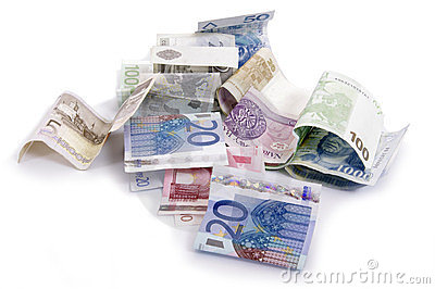 Euro and zlot banknotes