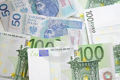 Euro and zloty bills