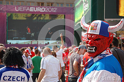 Euro2012 - Czech fan in devil mask Editorial Image