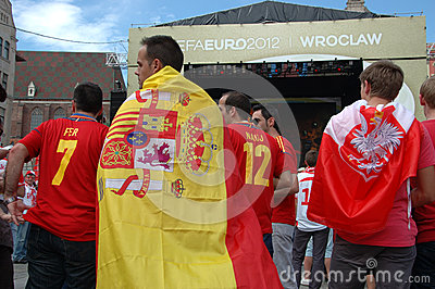 Euro2012 - Spanish flag Editorial Photo