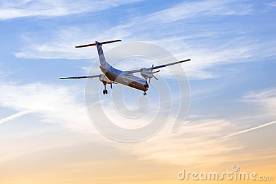 Eurolot aircraft landing on the airport Editorial Stock Photo