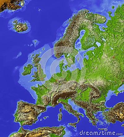 Europa, mapa de relevo