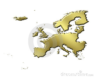 Europe 3d Golden Map