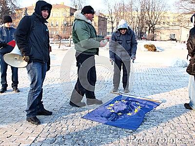 Europe against ACTA, Lublin, Poland Editorial Stock Photo
