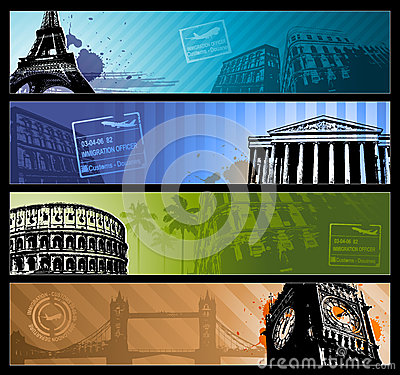 Europe cities Horizontal travel banners
