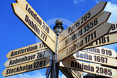 European Cities distance Travel Sign