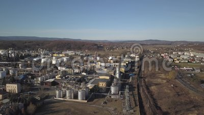 Europe. Clean of an oil refinery. View from the height of the bird`s palette. Shooting with a quadcopter, an aircraft, drones, aer. Ial photography. Oil refining stock video