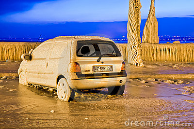 Europe Cold Snap - Frozen Car Editorial Photography