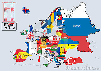 Europe Continental country flags and map