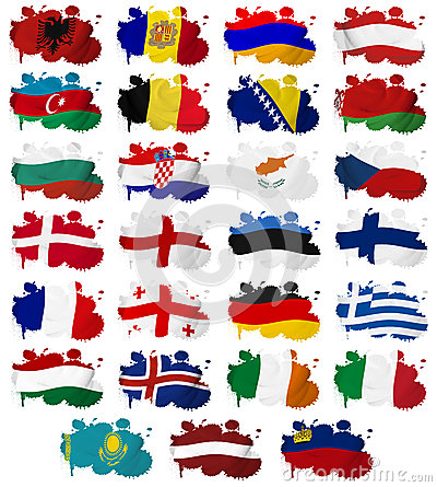 Europe countries flag blots Part 1