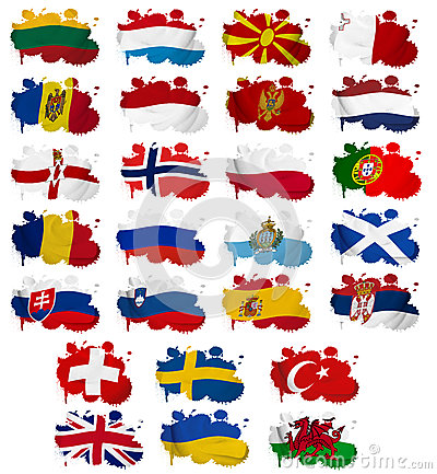 Europe countries flag blots Part 2
