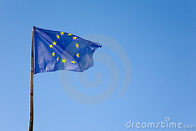 Europe flag on blue sky