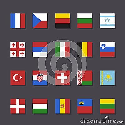 Europe flag icon set Metro style