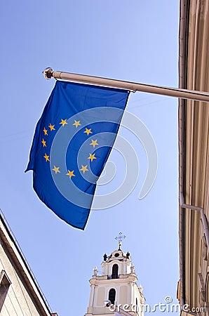 Europe flag in Vilnius old town