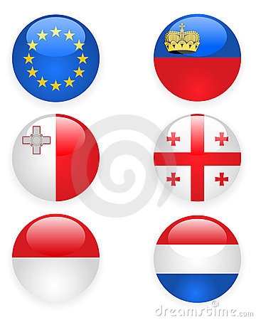 Europe flags buttons, part three