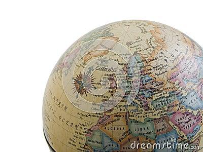 Europe on the globe