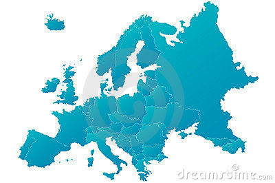 Europe map highly detailed blue vector
