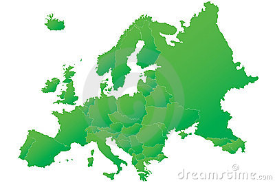 Europe map highly detailed green vector