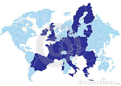 Europe map with world map
