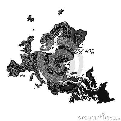 Europe at night as engraving vector