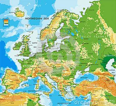 Free Europe - Physical Map Stock Photo - 67598980
