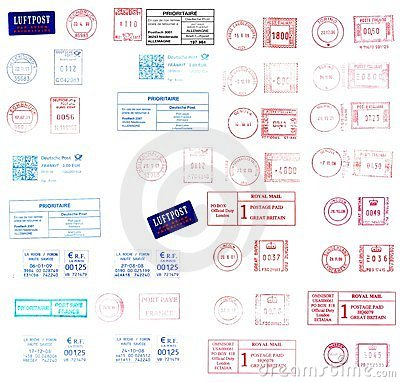 Europe: post labels and postmarks