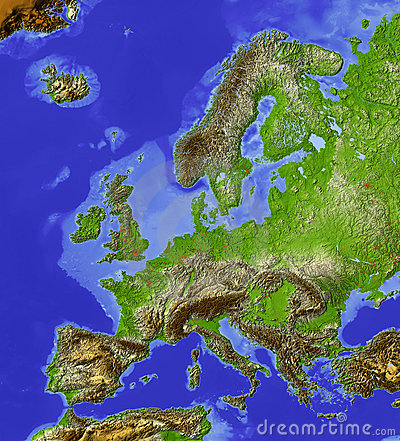 Europe, relief map