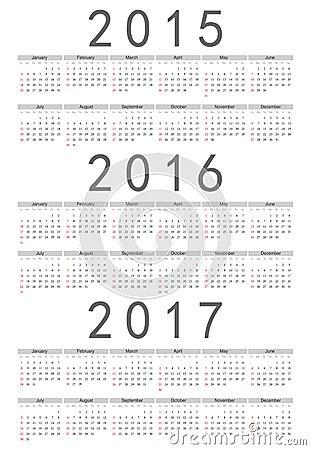 Free European 2015, 2016, 2017 Year Vector Calendar Royalty Free Stock Photo - 33769375