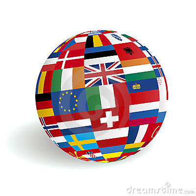 European 3D globe flags