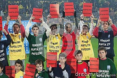 European campaign against racism in Aris stadium Editorial Image