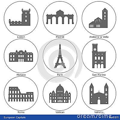 European Capitals - Icon Set (Part 1)