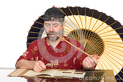 European in chinese costume smokes pipe