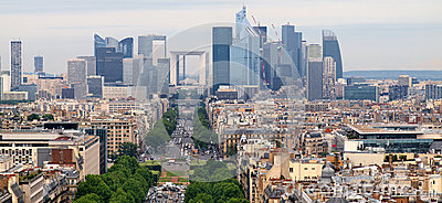 European cities life. Skyscrapers of Paris city