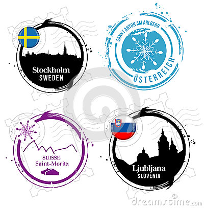 European cities stamps