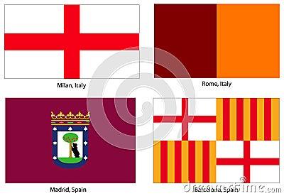 European city flags set