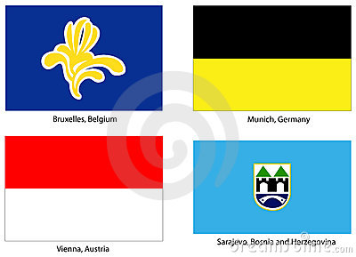 European city flags set