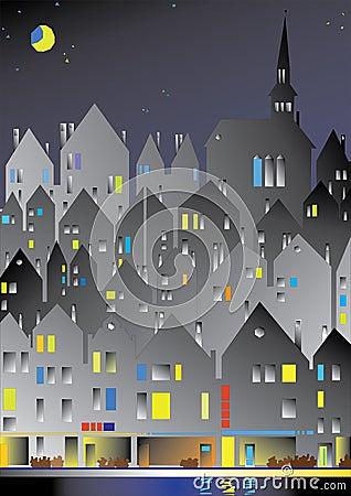 European city in the night