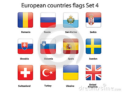European countries flags set 4